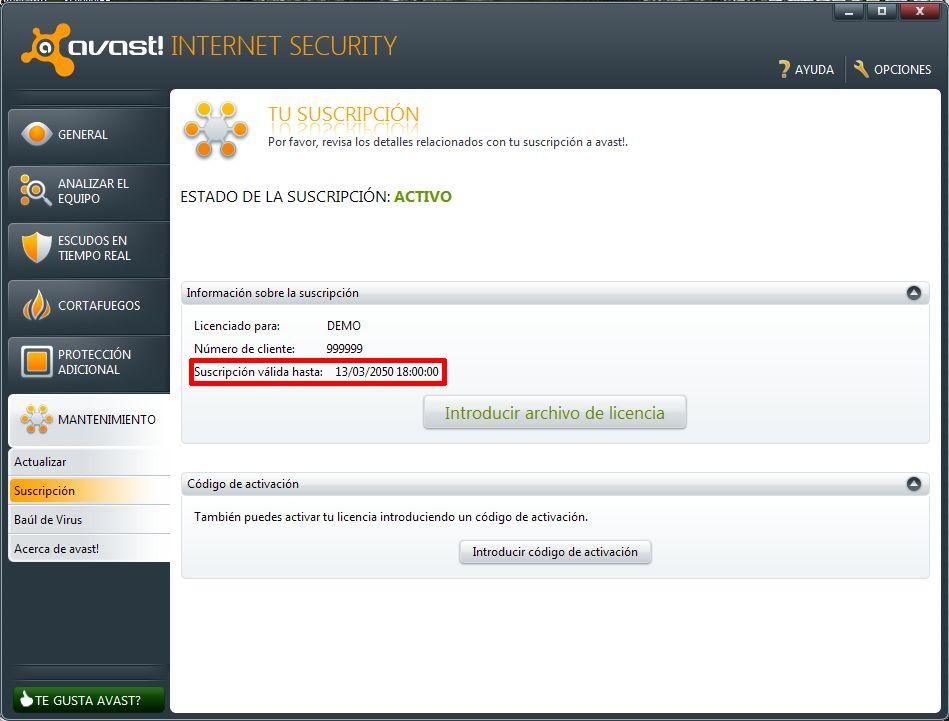 avast internet security key till 2050